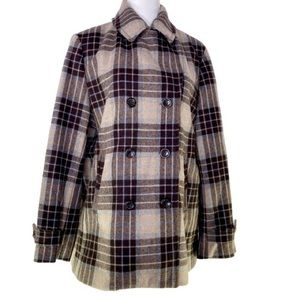 Lands End Wool Plaid Double Breasted Coat